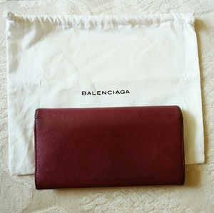 Balenciaga Bags - Auth Balenciaga leather long wallet red